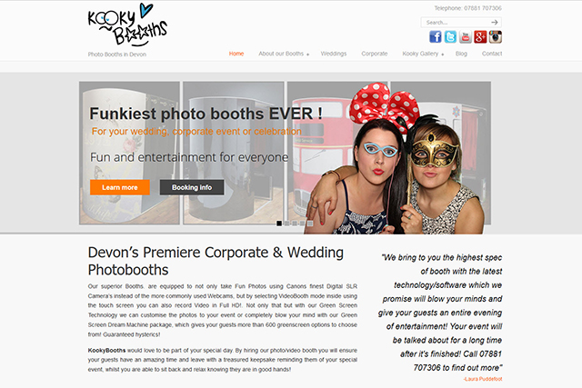 responsive website for Kookybooths